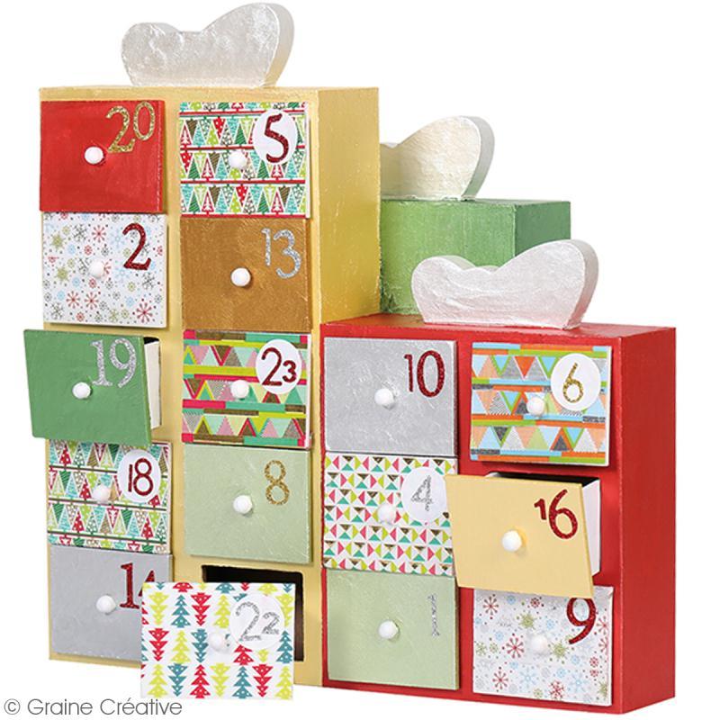 calendrier de l 39 avent en bois d corer cadeaux 30 x. Black Bedroom Furniture Sets. Home Design Ideas