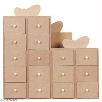Calendrier de l'Avent en bois à décorer - Cadeaux - 30 x 30 cm