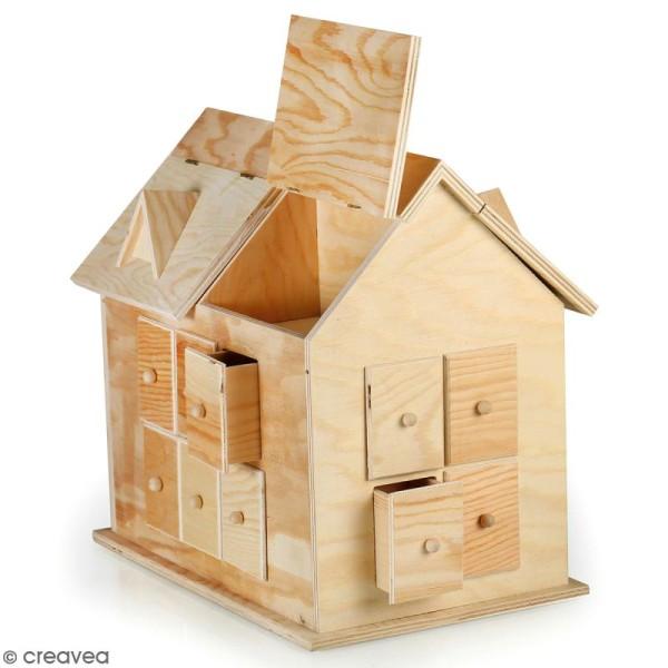 Calendrier de l 39 avent en bois d corer maison 33 5 x - Calendrier de l avent en bois a decorer ...