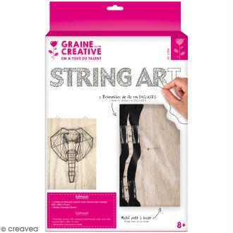 Kit tableau string art - Elephant - 20 x 30 cm