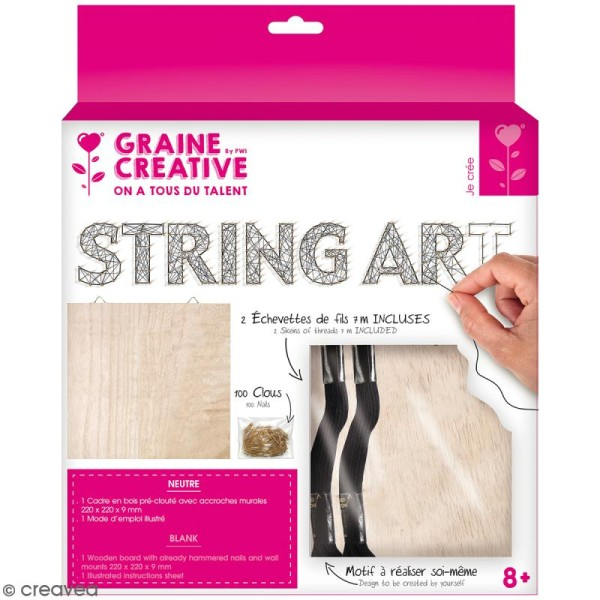 Kit tableau string art - Neutre - 22 x 22 cm - Photo n°1