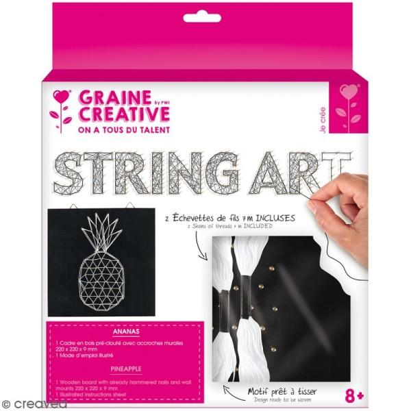 Kit tableau string art - Ananas - 22 x 22 cm - Photo n°1