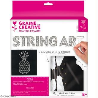 Kit tableau string art - Ananas - 22 x 22 cm