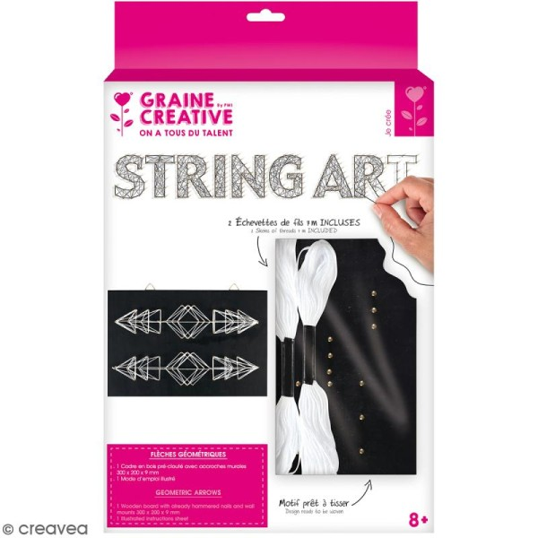 Kit tableau string art - Flèches géométriques - 30 x 20 cm - Photo n°1