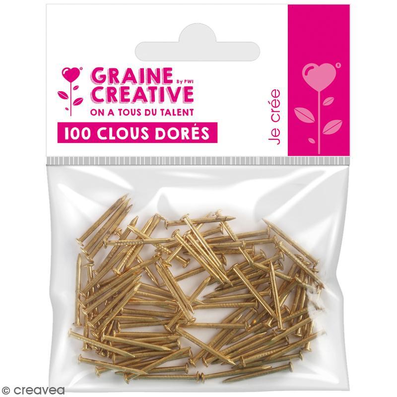 Clous dorés - 20 mm - 100 pcs - Photo n°1