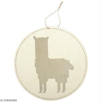 Suspension bois à broder - Lama - 22 x 22 cm