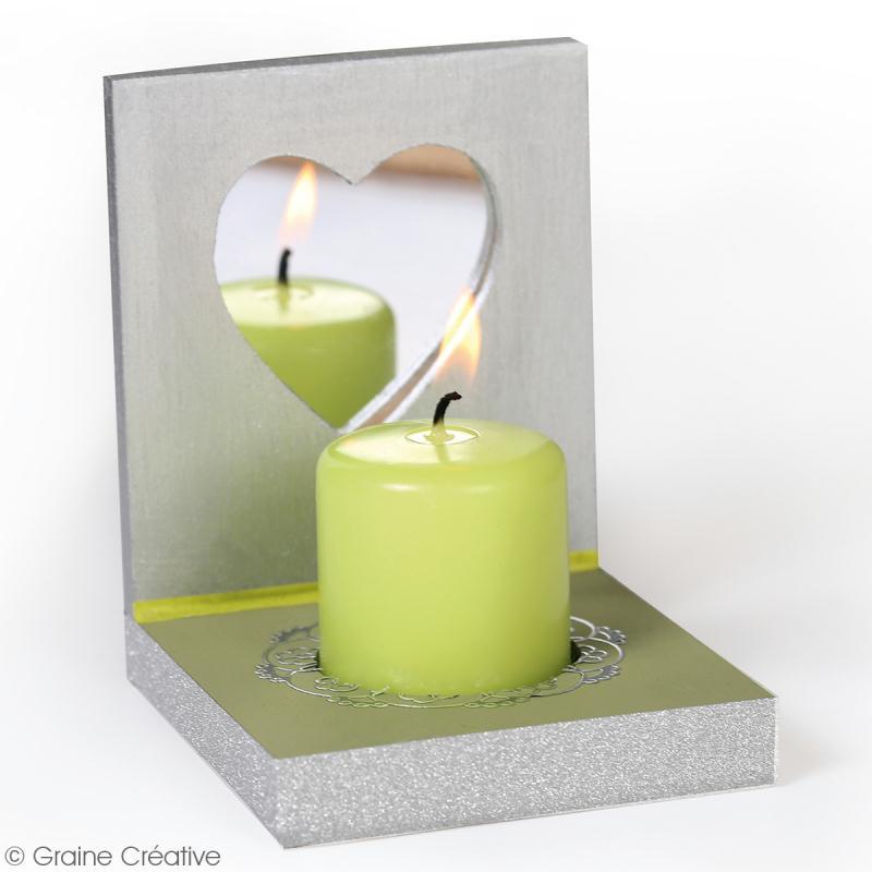 porte bougie carr en bois miroir coeur bougeoir d corer creavea. Black Bedroom Furniture Sets. Home Design Ideas