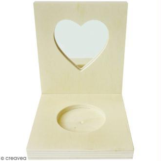Porte bougie carré en bois - miroir Coeur