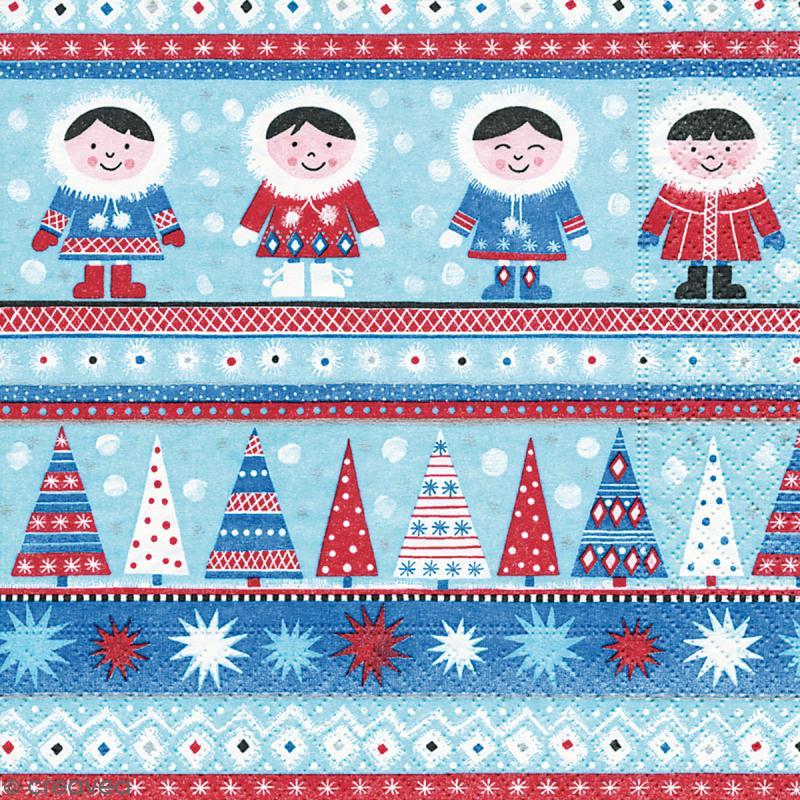 Serviette en papier Culture - Noël bleu - Photo n°1