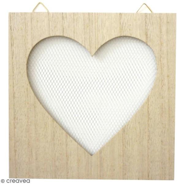 Tableau grillage en bois à décorer - Coeur - 20 x 20 cm - Photo n°1