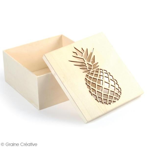 Boîte en bois ajourée à décorer - Ananas - 15 x 15 x 7,5 cm - Photo n°2
