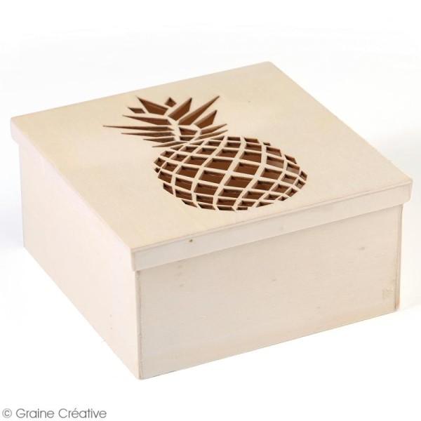 Boîte en bois ajourée à décorer - Ananas - 15 x 15 x 7,5 cm - Photo n°3