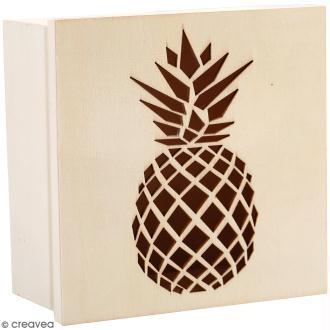Boîte en bois ajourée à décorer - Ananas - 15 x 15 x 7,5 cm