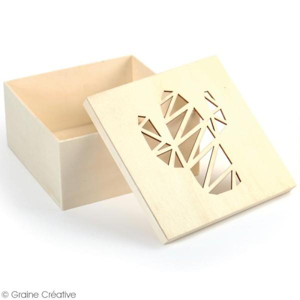 Boîte en bois ajourée à décorer - Cactus - 15 x 15 x 7,5 cm - Photo n°2