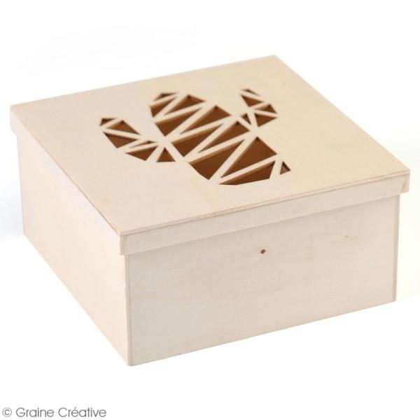 Boîte en bois ajourée à décorer - Cactus - 15 x 15 x 7,5 cm - Photo n°3
