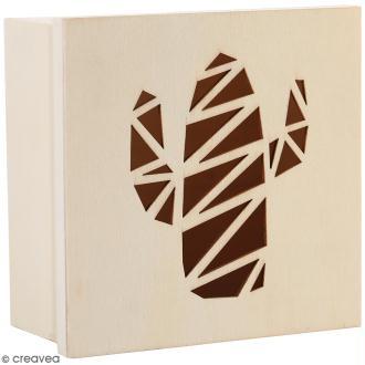 Boîte en bois ajourée à décorer - Cactus - 15 x 15 x 7,5 cm