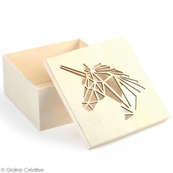 Boîte en bois ajourée à décorer - Licorne - 15 x 15 x 7,5 cm - Photo n°2