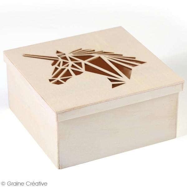 Boîte en bois ajourée à décorer - Licorne - 15 x 15 x 7,5 cm - Photo n°3