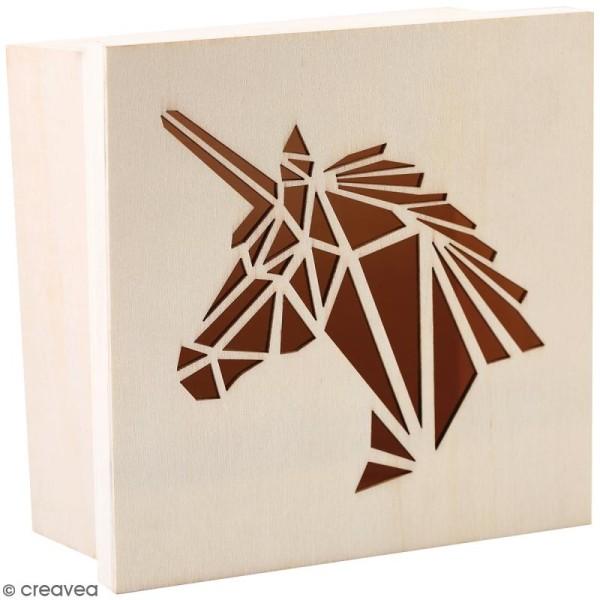 Boîte en bois ajourée à décorer - Licorne - 15 x 15 x 7,5 cm - Photo n°1