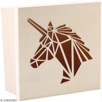 Boîte en bois ajourée à décorer - Licorne - 15 x 15 x 7,5 cm