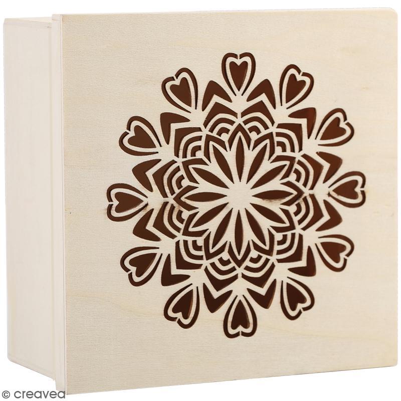 Boîte en bois ajourée à décorer - Mandala coeurs - 15 x 15 x 7,5 cm ...