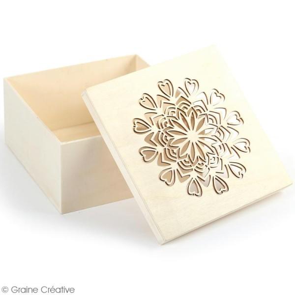 Boîte en bois ajourée à décorer - Mandala coeurs - 15 x 15 x 7,5 cm - Photo n°2