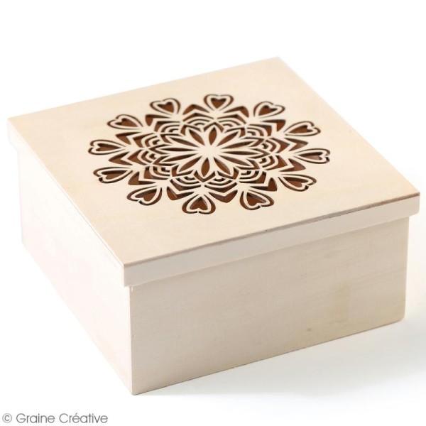 Boîte en bois ajourée à décorer - Mandala coeurs - 15 x 15 x 7,5 cm - Photo n°3