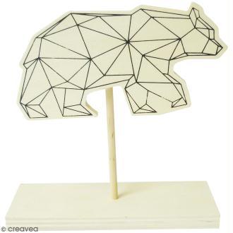 Porte photo en bois - Ours géométrique - 11 x 11 cm