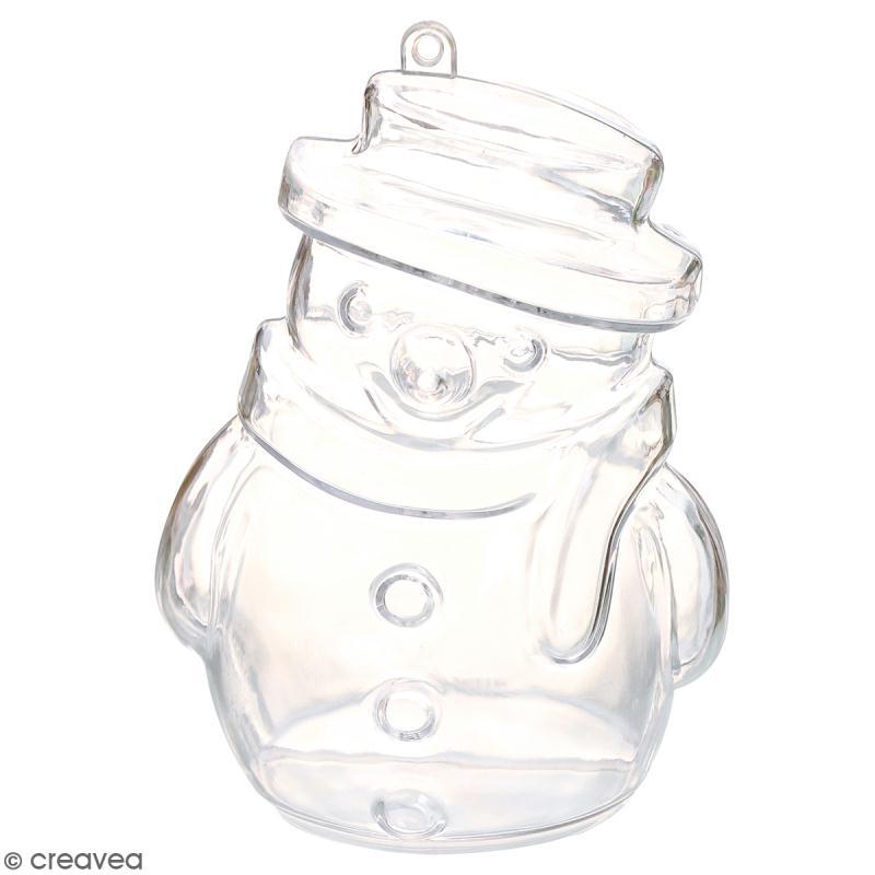 Forme en plastique transparent cristal bonhomme de neige 10 cm 1 pce boule plastique - Bonhomme de neige en verre plastique ...