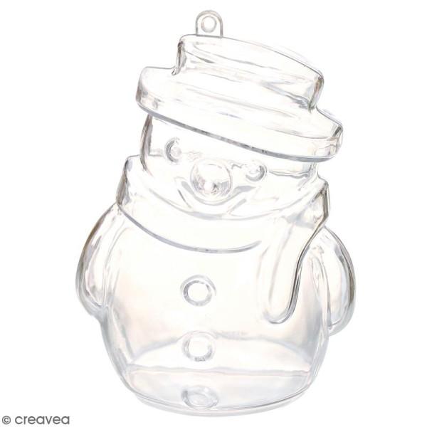 Forme en plastique transparent cristal - Bonhomme de neige - 10 cm - 1 pce - Photo n°1