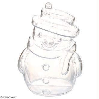 Forme en plastique transparent cristal - Bonhomme de neige - 10 cm - 1 pce