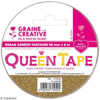 Ruban adhésif Queen Tape à paillettes Graine Créative - Doré - 48 mm x 6 m