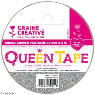 Ruban adhésif Queen Tape à paillettes Graine Créative - Argenté - 48 mm x 6 m