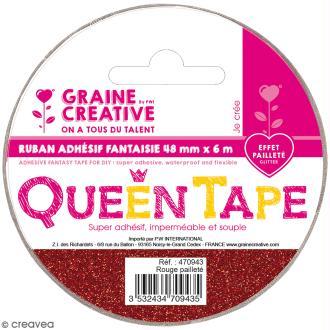 Ruban adhésif Queen Tape à paillettes Graine Créative - Rouge - 48 mm x 6 m
