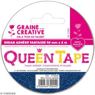 Ruban adhésif Queen Tape à paillettes Graine Créative - Bleu foncé - 48 mm x 6 m