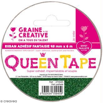 Ruban adhésif Queen Tape à paillettes Graine Créative - Vert - 48 mm x 6 m