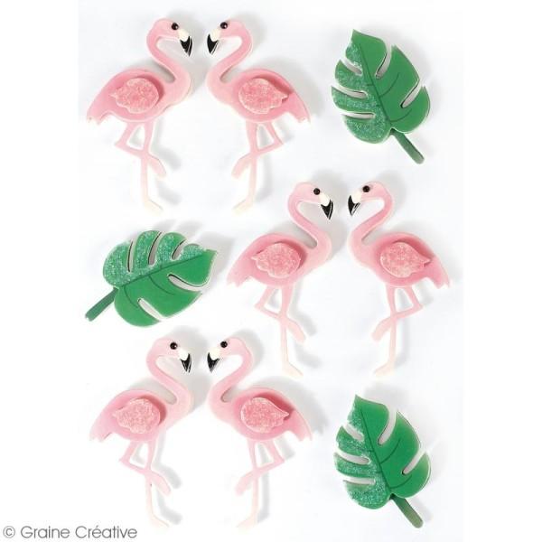Stickers 3D - Flamant rose - 9 autocollants - Photo n°2