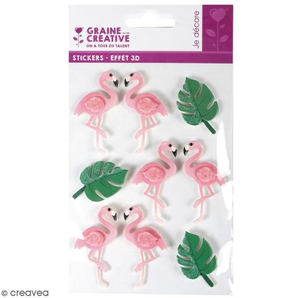 Stickers 3D - Flamant rose - 9 autocollants - Photo n°1