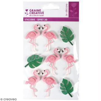 Stickers 3D - Flamant rose - 9 autocollants