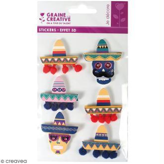 Stickers 3D - Chapeau mexicain - 6 autocollants