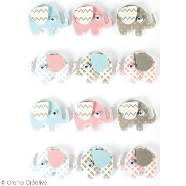 Stickers 3D - Elephant - 12 autocollants - Photo n°2