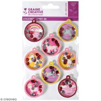 Stickers 3D - Boule Licorne - 8 autocollants