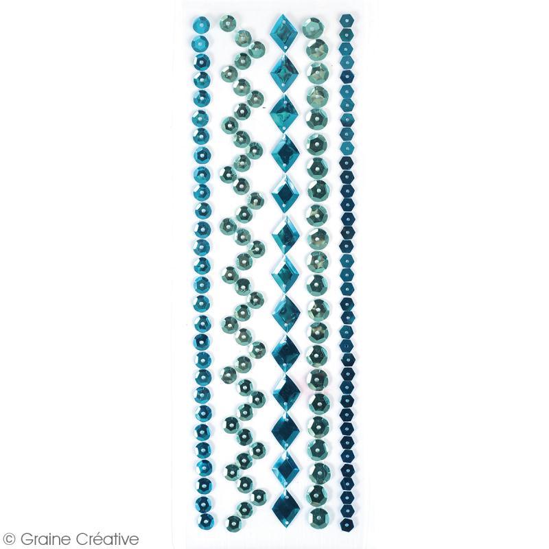 Sequins adhésifs en bande - Bleu - 20 cm - Photo n°2