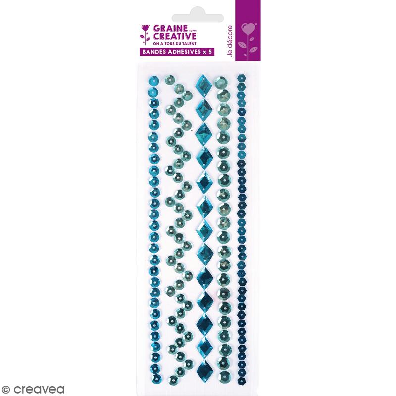 Sequins adhésifs en bande - Bleu - 20 cm - Photo n°1