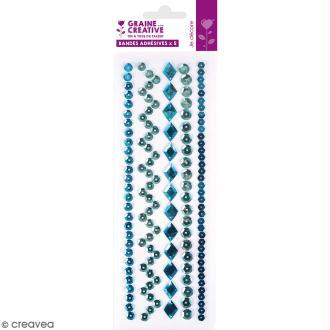 Sequins adhésifs en bande - Bleu - 20 cm