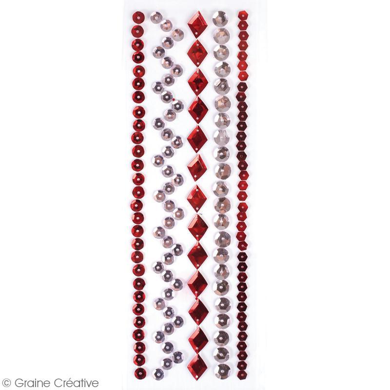 Sequins adhésifs en bande - Rouge - 20 cm - Photo n°2