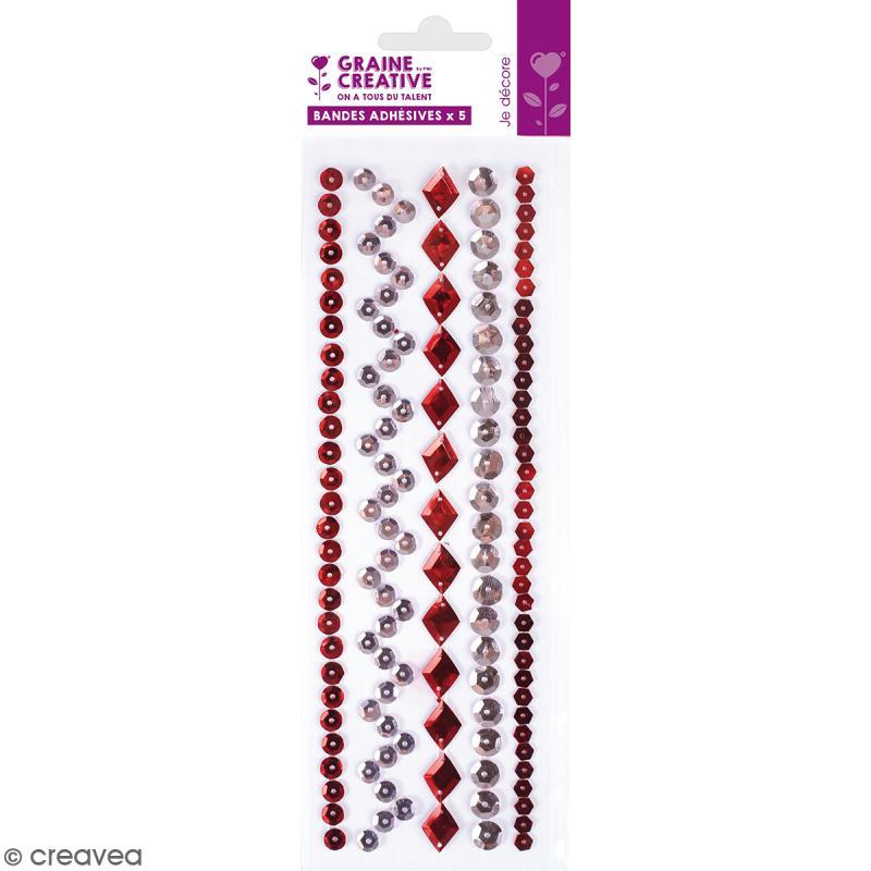 Sequins adhésifs en bande - Rouge - 20 cm - Photo n°1