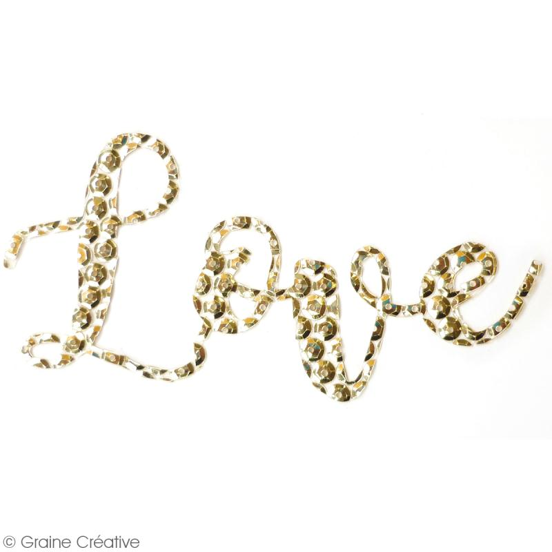 Sticker en sequins - Love - Doré - Photo n°2