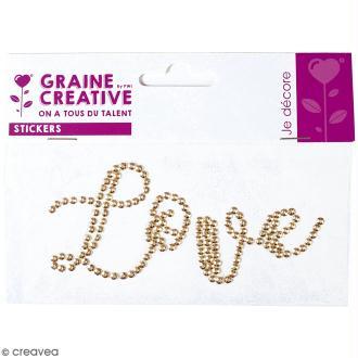 Sticker en sequins - Love - Doré