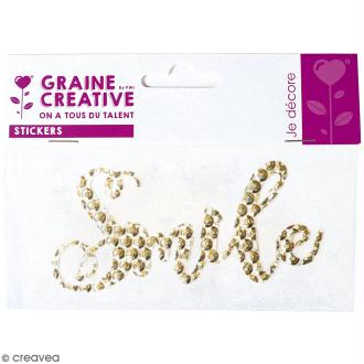 Sticker en sequins - Smile - Doré